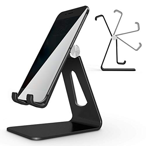 (Adjustable Cell Phone Stand Phone Stand Cradle Dock Holder Aluminum Desktop Stand Compatible All Android with iPhone Xs Max Xr 8 7 6 6s Plus 5s Charging Accessories Desk All Smart Phone-Black)