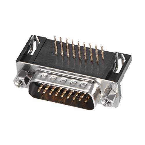 uxcell D-sub Connector Male Plug 26-pin 3-Row Right Angle Port Terminal Breakout for Mechanical Equipment Black Pack of 1