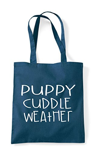 Cute Tote Weather Funny Shopper Puppy Cuddle Themed Pet Animal Bag Petrol 0Rw1tq
