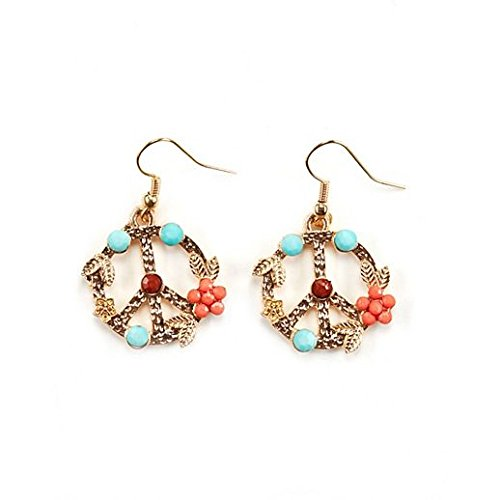 Vintage Charm Halloween Floral Peace Sign Earrings -