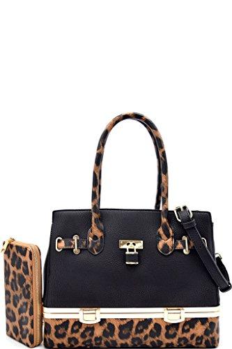 BLACK ANIMAL PRINT FLIP LOCK HAND BAG W/MATCHING (Animal Print Purse)