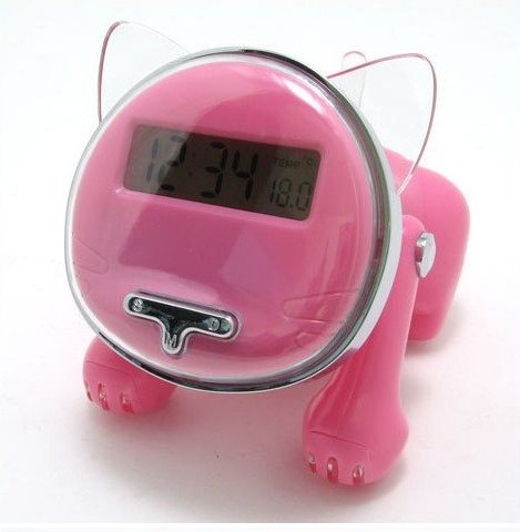 iBRIGHT LLC Talking Kitten Cat Shape Talking Alarm Clock - Pink