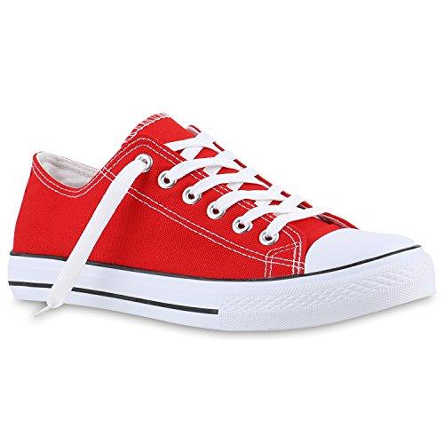 Stiefelparadies Unisex Damen Herren Sneaker Low Denim Sneakers Freizeit Schnürer Sportschuhe Schnürschuhe Turnschuhe Stoffschuhe Flandell Rot
