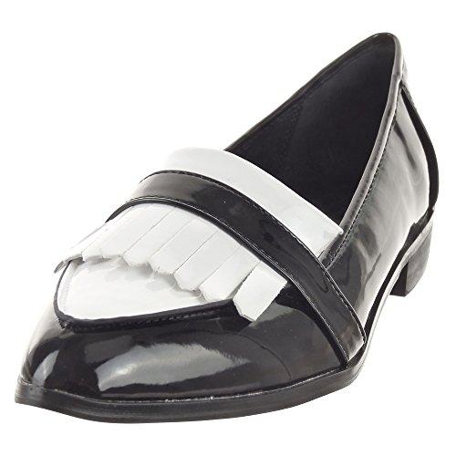 Sopily - Scarpe da Moda Mocassini ballerina alla caviglia donna lucide Tacco a blocco 2.5 CM - Bianco