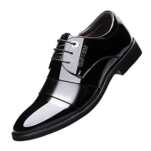 nihiug Chaussures en Cuir Marron pour Les Hommes Glissent sur des Chaussures en Cuir à Lacets De Mariage Affaires Habillent des Chaussures avec Le Cuir Verni Respirant Black OHmok17m16
