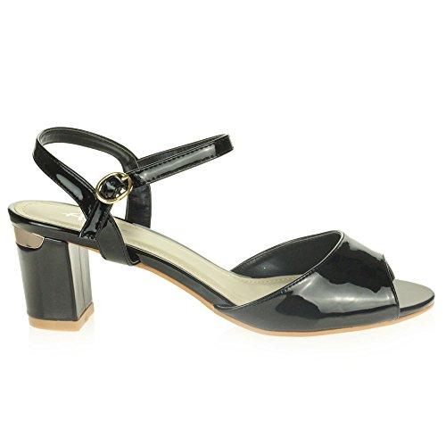 Femmes Bloquer Dames Décontractée Talon Moyen Soir Le des Sandales Fête Noir Brillant Chaussures Taille rST6wqxSY