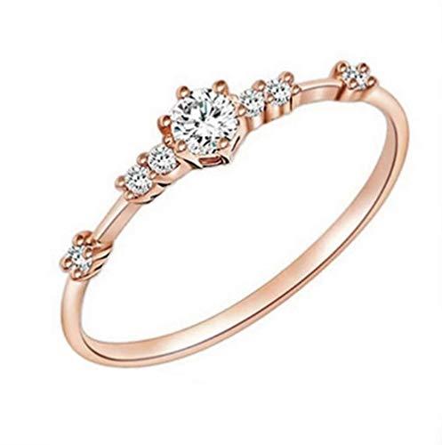 Phetmanee Shop Women 18K Rose Gold White Topaz Jewelry Wedding Proposal Ring Gift Size 5-10 ()