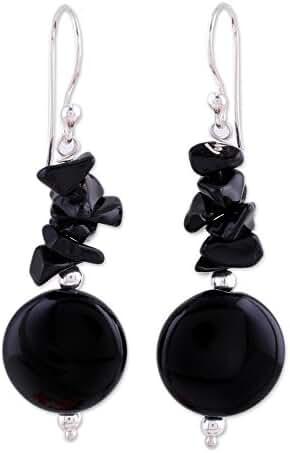 NOVICA Onyx .925 Sterling Silver Beaded Earrings 'Midnight Charm'