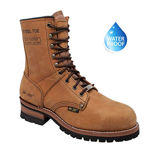 """(AdTec Men's 9"""" Super Logger Boots with Steel-Toe Rugged Goodyear Welt Construction Utility Boot Waterproof Brown 9.5 M US)"""