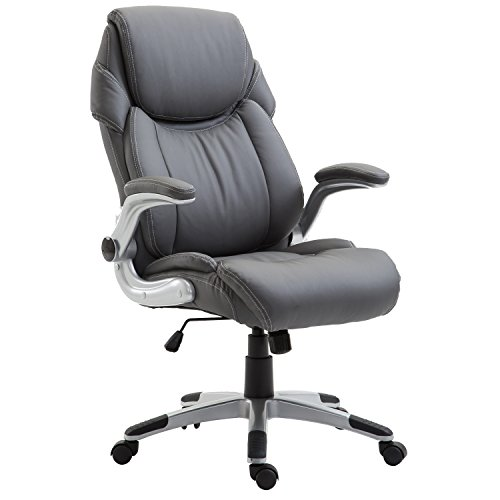 Poly and Bark Stella Executive Office Chair in Vegan Leather, Grey Castered Arm Chair