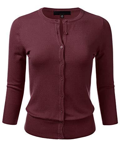 FLORIA Women's Button Down 3/4 Sleeve Crew Neck Knit Cardigan Sweater Burgundy S