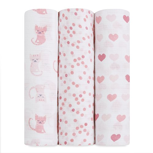 ideal baby by the makers of aden + anais Swaddle 3 Pack, Kitty Love