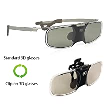 [Clear] Dual Style, Clip-on / Standard, Wireless Active Shutter 3D Glasses Replacement for Epson Projector Eyewear RF ELPGS03, PowerLite Home Pro Cinema