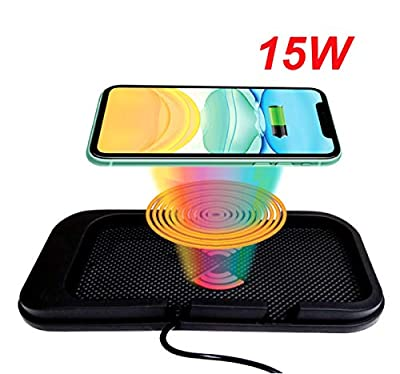 EDL-19 Car Wireless Charger, Flat Type Charging, Also can be Used as Phone Dock. with USB QC 3.0 Adapter, 15W/10W/7.5W/5W Fast Charging for Qi Enabled Phones. (Black)
