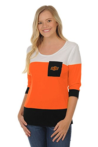 NCAA Oklahoma State Cowboys Adult Women Colorblock Top, Large, Orange/Black