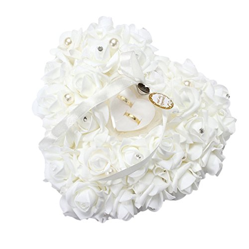 Yosoo Wedding Ring Pillow, White Ring Pillow for Wedding Lace Crystal Rose Heart Ring Box Wedding ()