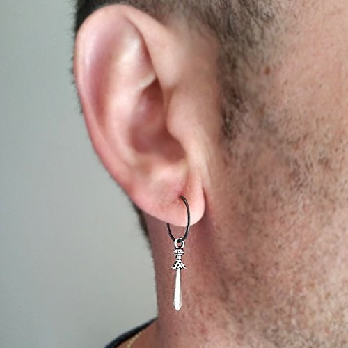 d7b5671a0 Image Unavailable. Image not available for. Color: Single Sword Mens Earring  ...