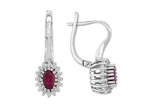 Birgie Diamants et Bijoux -Boucles d'Oreilles Rubis Ovale et Diamants-Femme- or Blanc 204E0032