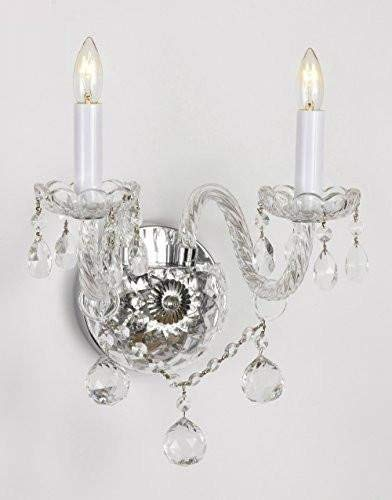 Swarovski Crystal Trimmed Wall Sconce! Murano Venetian Style All-Crystal Wall Sconce With Crystal Balls! (Lamp Venetian Wall)