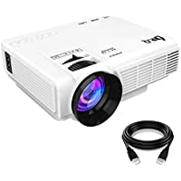 DR.Q Projector, Mini Projector, Video Projector with 170 Inch 1080P Support, Upgraded Lamp Life, Supports HDMI VGA AV USB TF, Home Theater Projector, White.