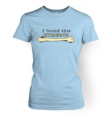 Light Evolution T-shirt - I Found This Humerus womens t-shirt - Science Geek Tshirt - Light Blue X Small (approx Size 8)