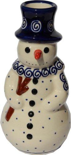 Polish Pottery Snowman - Polish Pottery Snowman Candlestick Holder From Zaklady Ceramiczne Boleslawiec #1409-174a Classic Pattern, Height: 6.3