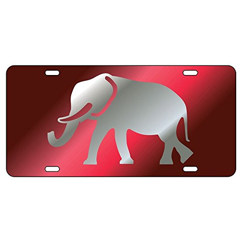 Crimson Tide Laser Alabama Cut - Alabama Crimson Tide Laser Cut Elephant License Plate Auto Tag, Made in the USA