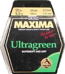 Maxima Fishing Line One Shot Spools, Ultragreen, 12-Pound/220-Yard