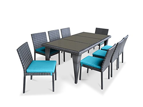 UrbanFurnishing.net – 9 Piece Wicker Outdoor Patio Dining Set – Gray Wicker / Sea Blue