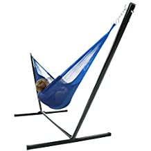 Sunnydaze Hand-Woven 2 Person Mayan Hammock with Stand, Family Size, Blue-400 Pound Capacity