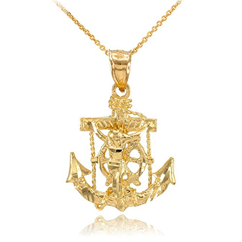 - Men's Fine Jewelry 14k Yellow Gold Mariner's Cross with Crucifix Pendant Necklace, 22