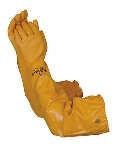 (Atlas 772 Nitrile Coated Gloves 26 inch Long Cotton Lined, Chemical Resistant, Water, Pond, Work, Large)