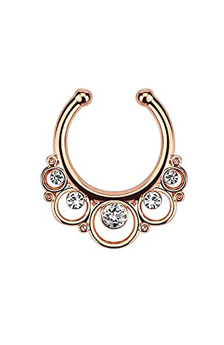 Rose-Tone Fake Septum Clicker Clip On Non Piercing Nose Ring Hoop Clear