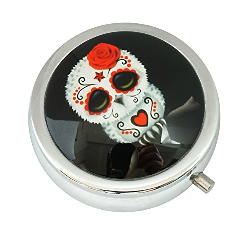 Skull Round Steel Case - WuCong Sugar Skull Owl Custom Fashion Design Glass Round Pill Case Western Medicine Tablet Holder Decorative Box