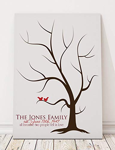 Thumbprint Tree Guest Book Alternative Canvas for Fingerprints and Signatures Family Tree Print with Love Birds