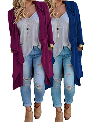 Duster Open Front - ZITY Plus Size Cardigans for Women/Women's Long Open Front Drape Lightweight Maxi Long Sleeve Cardigan Sweater Duster Coat,2pack:blue&rose,X-Large
