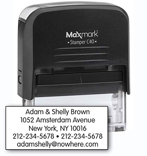 (MaxMark Large Size - 5-Line Custom Return Self Inking Address Stamp - w/ 5-Year Warranty)