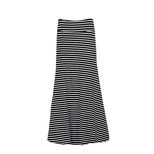 TOPUNDER Maxi Skirts for Women High Waist Striped Fold Over Stretch Long Skirt Black