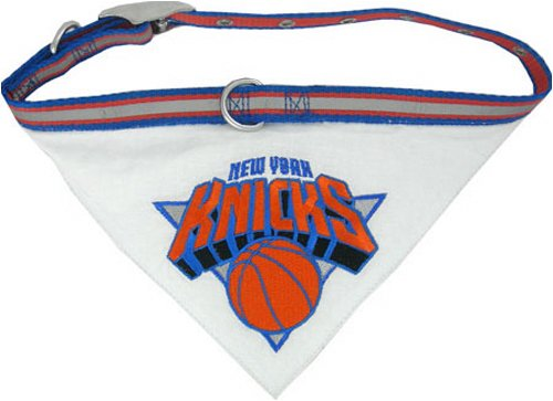 NBA BANDANA - NEW YORK KNICKS DOG BANDANA with Reflective & Adjustable DOG COLLAR, Large