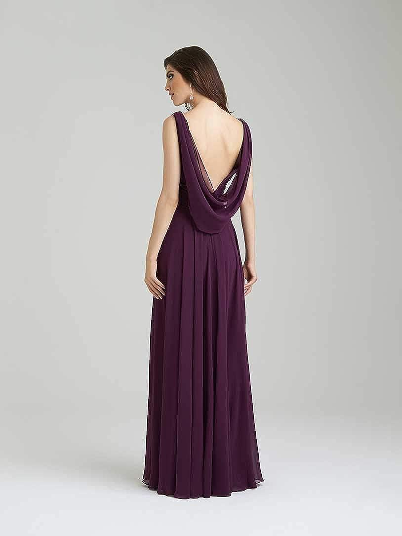 YMSHA Womens V Neck Bridesmaid Dress Floor Length Formal Evening Dress GN038