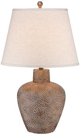 Bentley Brown Leaf Hammered Pot Table Lamp - - Amazon.com
