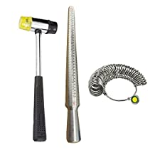 MAARYEE Ring Sizer Mandrel Stick Double Head Rubber Hammer 27 Pcs Ring Sizer Gauges Jewelry Tool Kits