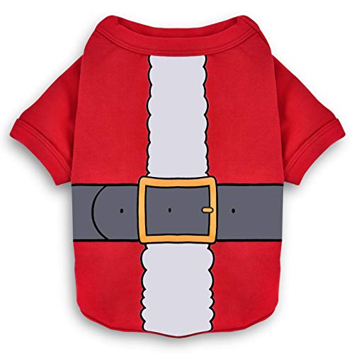 Koneseve Dog Shirt Christmas Dog Clothes Santa Claus Cotton Thicken Dog Sweater Breathable Soft Dog Costume Winter Christmas for Small Dogs Cats Puppy Adorable Apparel Xmas Clothing Red