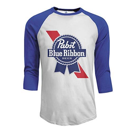 (Mens Baseball Tee T-Shirt Blue Ribbon King of Beer 3/4 Sleeve Raglan Casual Athletic Performance Jersey Shirt, 100% Cotton)