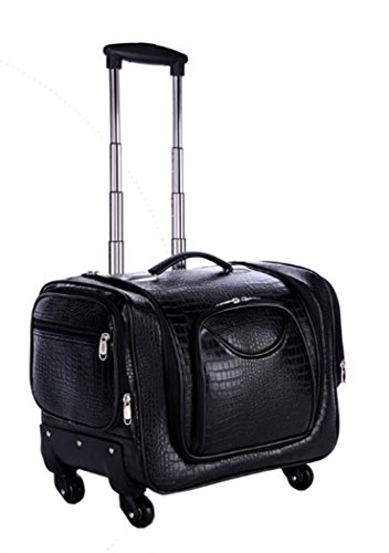 Douniushi Womens PU Leather Cosmetic Luggage with Wheels - Crocodile Black by 3Groups