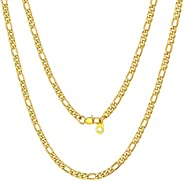 ChainsPro Mens NK 3:1 Figaro Chain Necklace-4/6/7.5/9/13MM Width, 18K Gold Plated/316L Stainless Steel/Black,