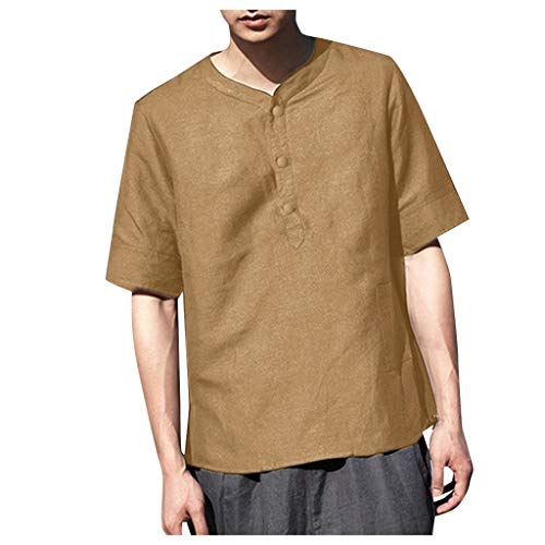 Wendeyipi Short Sleeve Henley Shirt Cotton Linen Beach Yoga Loose Fit Mens Casual Solid Color Button Tops Khaki