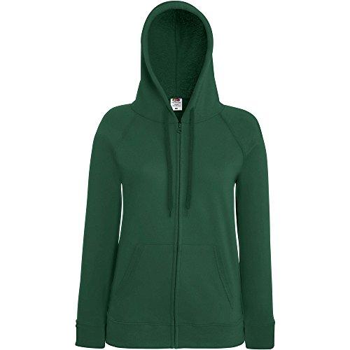 Fruit Of The Loom Ladies Lady Fit Full Zip Hooded Sweatshirt Bottle Green