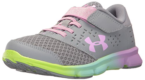 Under Armour Girls' Pre School Rave Prism Adjustable Closure, Steel (035)/Blue Infinity, 3 by Under Armour