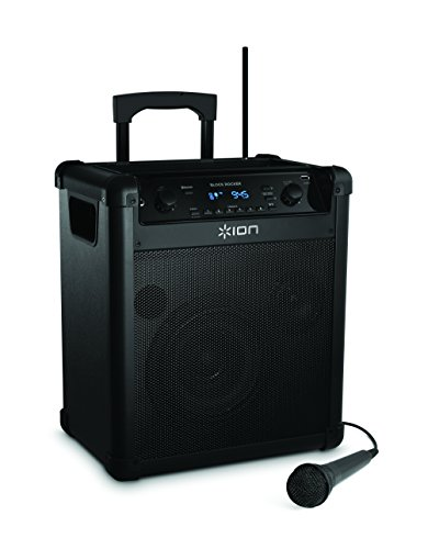 ION Audio Block Rocker (iPA76A) | Portable Bluetooth Speaker with Mic, Radio, and Wheels & Handle for Transport (Wheel Tap)